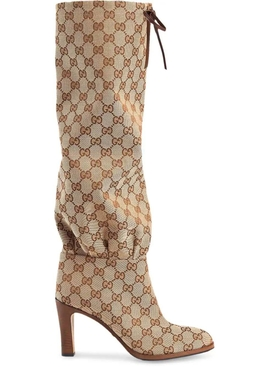 GG canvas mid-heel boot