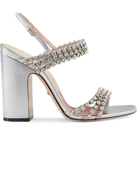 Gucci - Metallic Leather Sandal With Crystals - Women