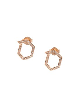 Eva Fehren - Rose Gold Hexagon Diamond Studs - Women