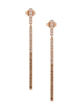 Eva Fehren - Rose Gold Line Diamond Earrings - Fine Earrings