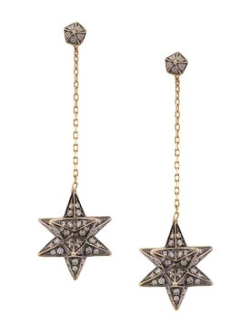 Noor Fares - 18kt Yellow Gold Merkaba Diamond Drop Earrings Gold - Women