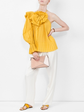 pleated one shoulder blouse YELLOW