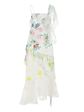 Floral Layer Slip Dress WHITE
