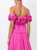 Rosie Assoulin - Halterneck Ruffle Top Pink - Women