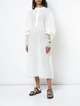 perforated midi dress WHITE