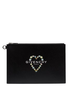 Givenchy - Black Daisy Heart Zipper Clutch - Women