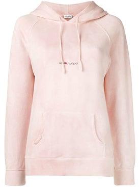 Saint Laurent - Subtle Tie-dye Logo Print Hoodie Pink - Women