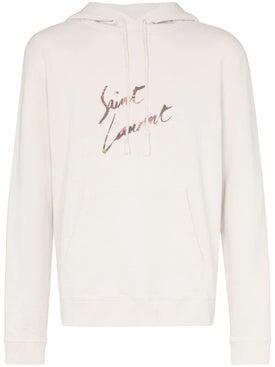 Saint Laurent - Logo Hoodie Off-white - Men