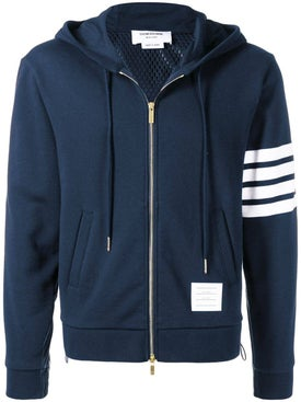 Thom Browne - Striped Sleeve Zip Up Hoodie Navy - Hoodies