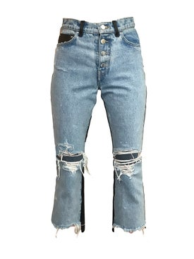 Amiri - Leather Denim Crop Flare Jeans - Women