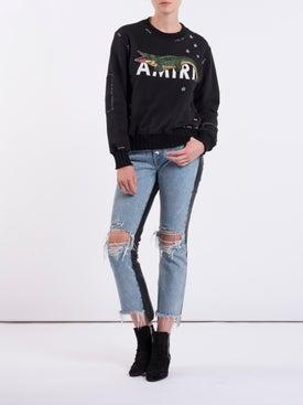Amiri - Leather Denim Crop Flare Jeans - Women