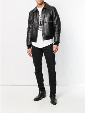slim fit ripped jeans BLACK