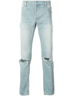 Balmain - Slim Fit Ripped Jeans Light Blue - Men