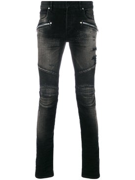 Balmain - Stonewashed Skinny Biker Jeans Washed Black - Men