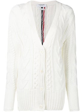 Thom Browne - White Cable Knit Cardigan - Tops