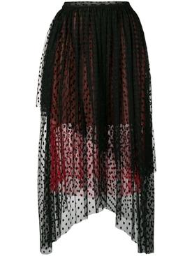 dot tulle gathered skirt BLACK