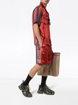 Silk mix print shorts RED