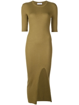ribbed knit dress GREEN