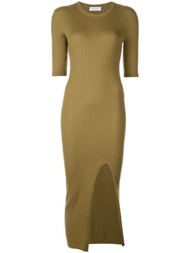 Alexandra Golovanoff - Ribbed Knit Dress Green - Women