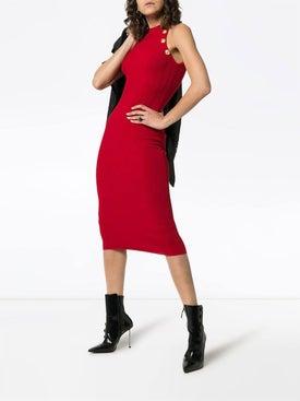 Balmain - Halterneck Ribbed Wool Blend Dress - Women