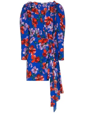 Magda Butrym - Lagos Floral Print Ruched Silk Mini Dress - Women