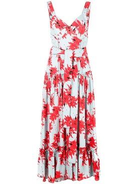 Proenza Schouler - Splatter Floral Sleeveless Tiered Dress - Women
