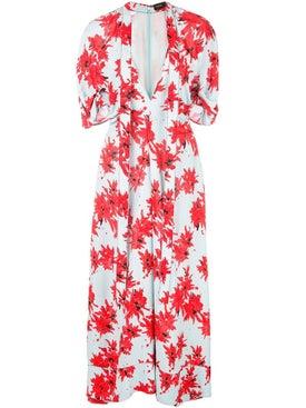 Proenza Schouler - Splatter Floral Short Sleeve Tie Dress - Mid-length