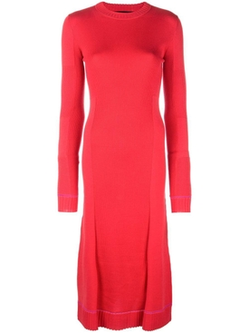 Ribbed Knit Long Sleeve Dress RED