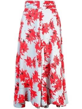 Splatter Floral Seamed Skirt MULTICOLOR
