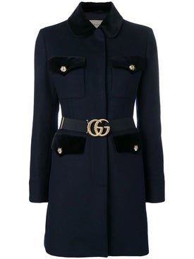 Gucci - Velvet-trimmed Single Breasted Coat - Women