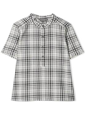 checked short-sleeved shirt BLACK & WHITE