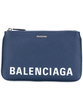 Balenciaga - Pebbled Texture Logo Pouch Blue - Women