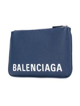 Balenciaga - Pebbled Texture Logo Pouch Blue - Women