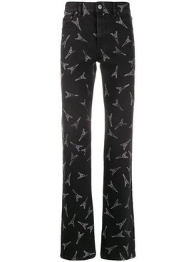Eiffel Tower print slim jeans