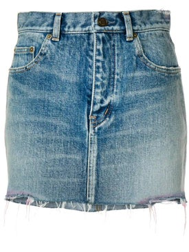 Saint Laurent - Raw Hem Denim Skirt - Women