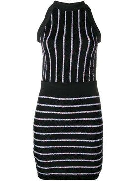 Balmain - Contrasting Embroidered Stripes Dress - Women