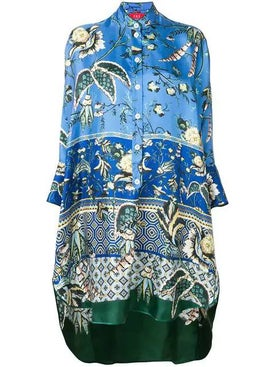 For Restless Sleepers - Tropical Print Drape Tunic Blue - Women