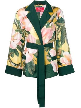 For Restless Sleepers - Floral Belted Jacket - Sleepwear