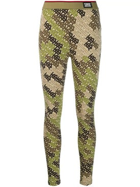 Burberry - Green Monogram Print Leggings - Pants