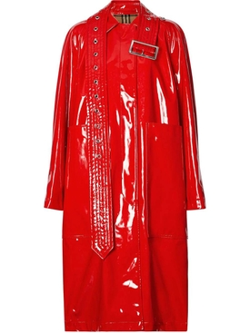 Belt Detail Laminated Coat RED