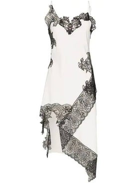 Marques'almeida - Lace Applique Asymmetrical Slip Dress - Mini