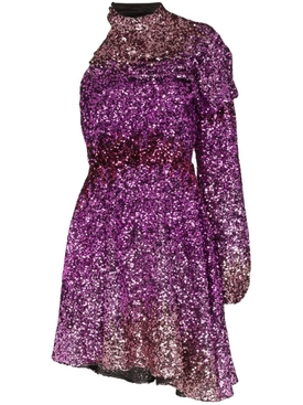 purple one-shoulder sequin mini dress