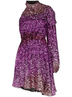 Halpern - Purple One-shoulder Sequin Mini Dress - Women