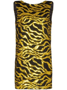 Halpern - Black And Gold Sequin Mini Dress - Mini