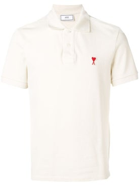Ami Alexandre Mattiussi - Short Sleeve Polo Shirt With Red Ami De Coeur Patch - Polo Shirts