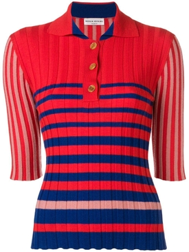 striped buttoned polo sweater