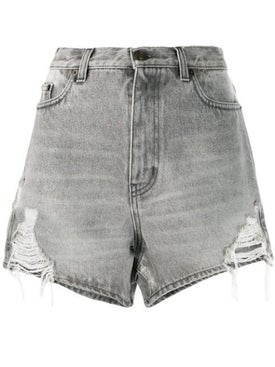 Saint Laurent - Sandy Grey Distressed Denim Shorts - Women