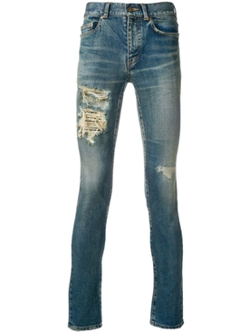 Skinny low rise distressed jeans