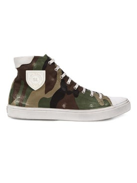 Saint Laurent - Camo Print Bedford High Top Sneakers - Men