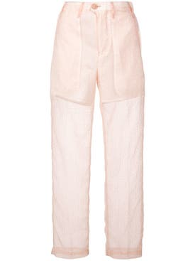 Julien David - Slim Sheer Trousers Pink - Women